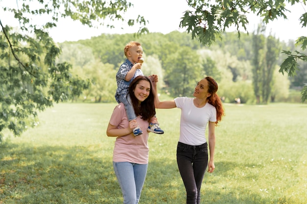 Beautiful lgbt family in the park