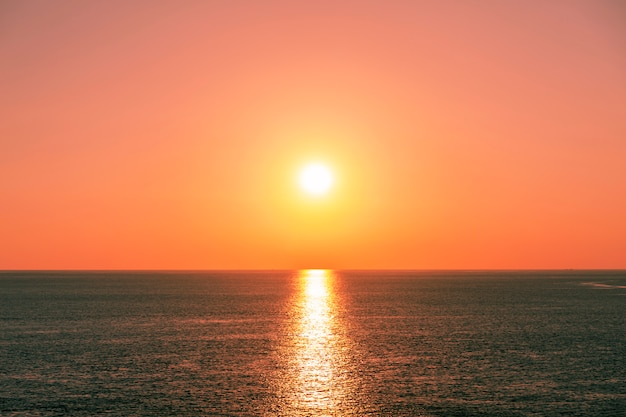 Beautiful light sunset or sunrise over sea scenery nature background