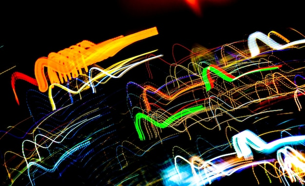 Beautiful lighting of night futuristic line led building abstract