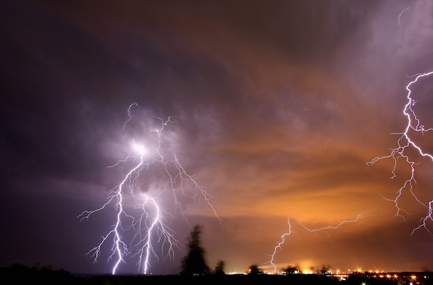 Beautiful lightning in the dark sky