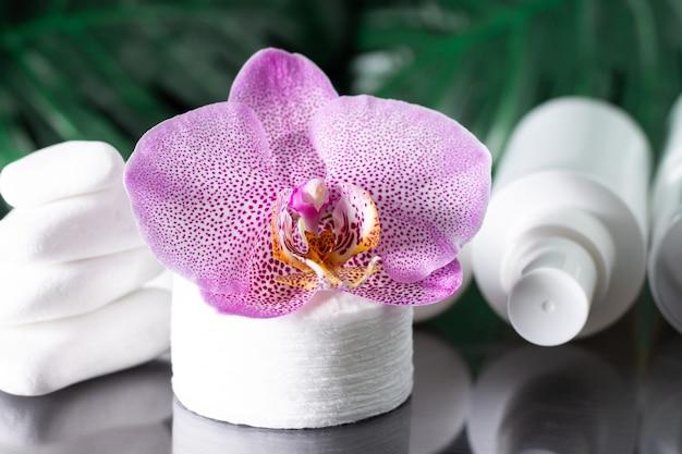아름다운 라일락 난초 꽃, 흰색 화장품 병, 흰 돌과 몬스 테라 잎의 스택이있는 면화 패드
