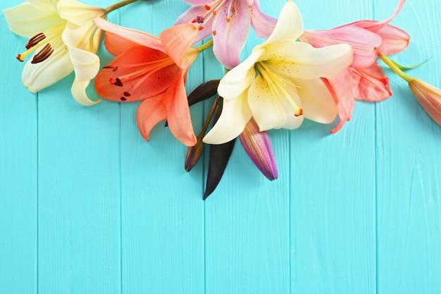 Красивые лилии на синей деревянной поверхности
