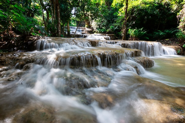 Beautiful limestone waterfall in lampang thailand