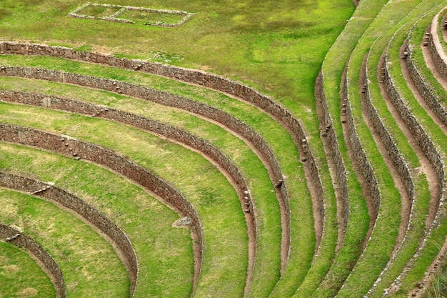 Beautiful lines of incan agricultural terraces ruins of moray, sacred valley of the incas, peru