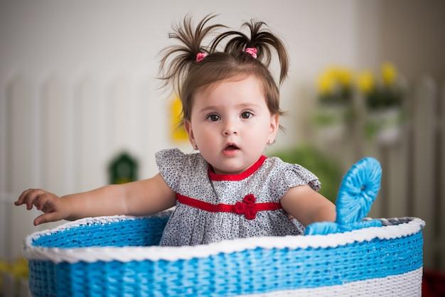 Красивая маленькая кареглазая девушка сидит в корзине