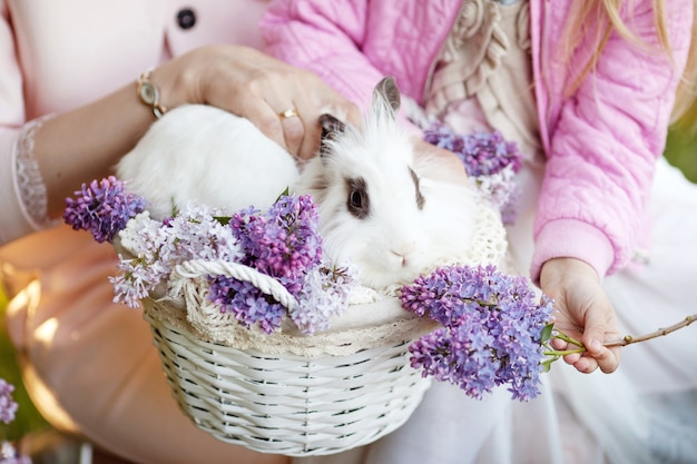 Beautiful  little girl  and her mother plaing with white rabbit in the spring time. easter time. close up picture