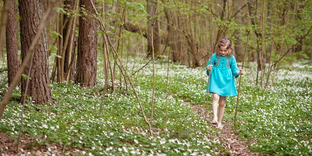 Красивая маленькая девочка в голубом платье гуляя весной древесина. малыш, играя на открытом воздухе в летнее время. пасхальное время симпатичные садовник, посадка снега падает. скопируйте место для текста. баннер