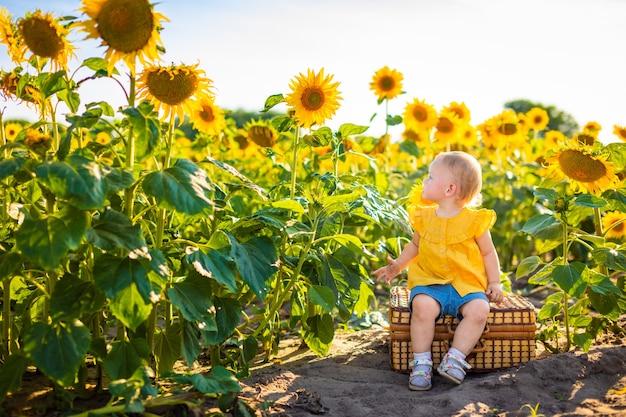 Красивая маленькая девочка в цветущем поле подсолнечника в летнее время