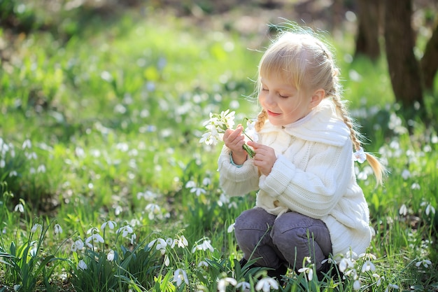 A beautiful little girl is sitting on a flower meadow. a little girl in a white knitted sweater is considering a snowdrop. easter time. spring sunny forest