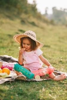 Beautiful little girl on a picnic