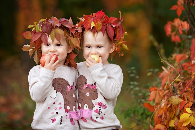 Beautiful little twin girls  holding apples in the autumn garden.