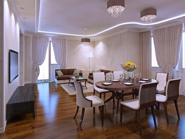 식탁이있는 아름다운 거실 스튜디오입니다. 3d 렌더링