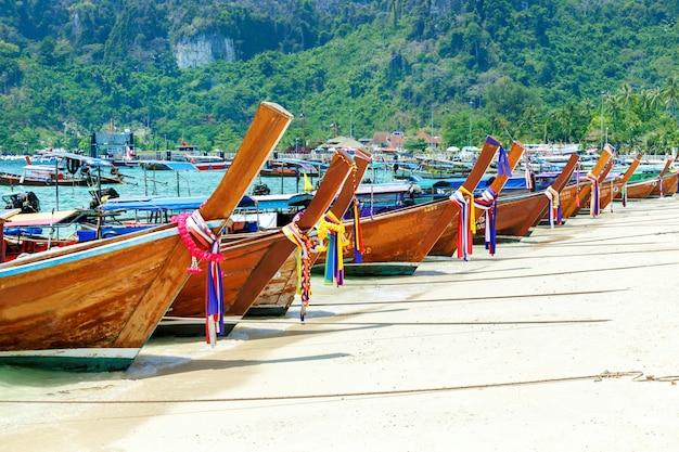 Beautiful long beach, phi phi island, thailand. tropical landscape. travel concept.