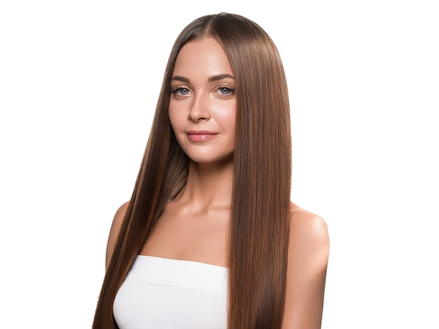 Beautiful long smooth hair woman happy clean skin face. isolated on white.