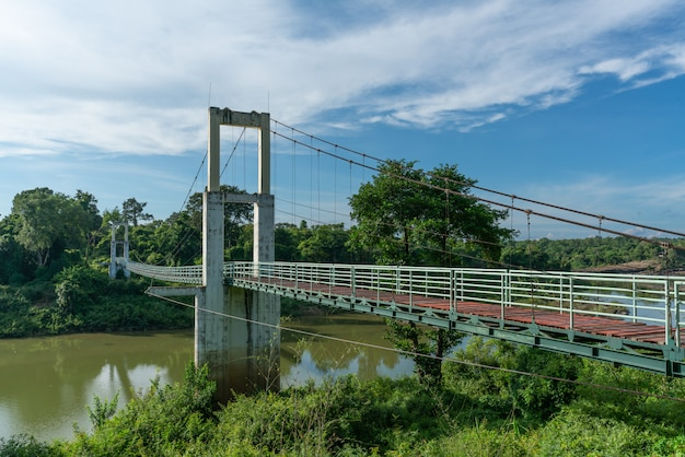 Beautiful of the longest suspension bridge in north eastern region at tana rapids national park,ubonratchatani, thailand