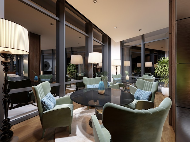 Beautiful lounge area of the hotel in a modern style, with luxurious furniture. 3d rendering