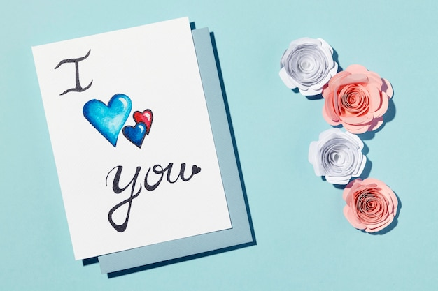 Beautiful love assortment isolated on blue