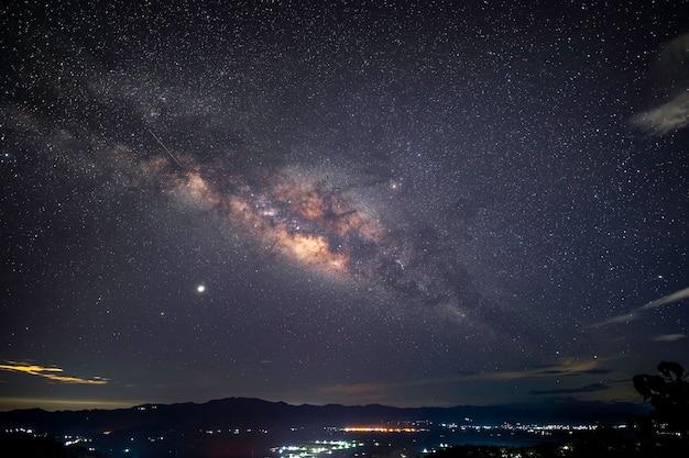 푸른 별이 빛나는 밤하늘 아래 숲의 아름다운 낮은 각도 샷