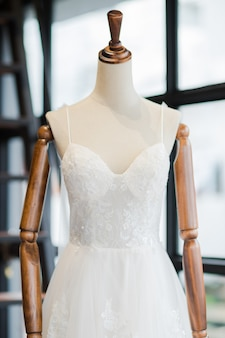 Beautiful and luxurious wedding dress in the wedding venue