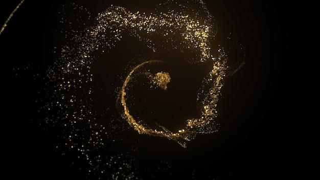 Красивый роскошный фон 3d визуализации с золотыми частицами и легким цветением. поток металлических частиц.