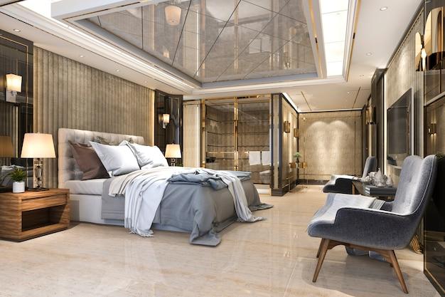 Beautiful luxury bedroom suite in hotel with tv