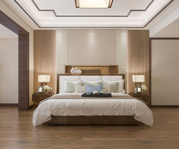 Beautiful luxury bedroom suite in hotel