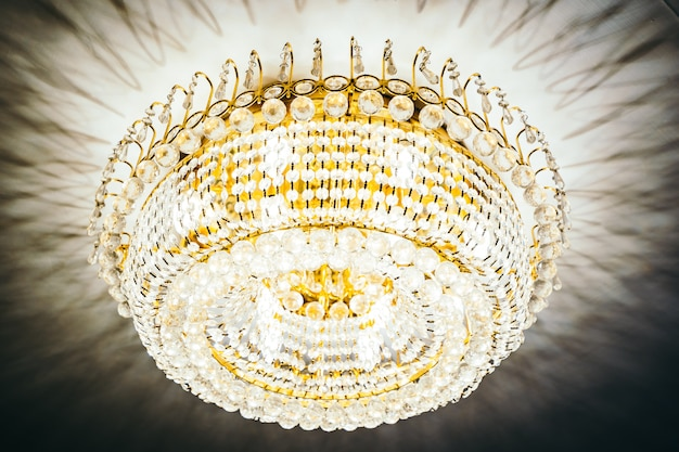 Beautiful luxury crystal chandelier decoration interior