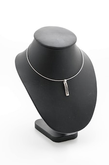 Beautiful and luxury necklace on jewelry stand neck