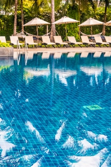 Beautiful luxury outdoor swimming pool in hotel and resort