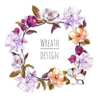 Beautiful magnolia flowers wreath frame