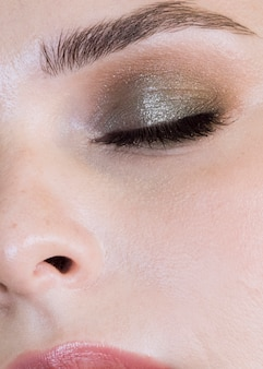 Beautiful make up client close up