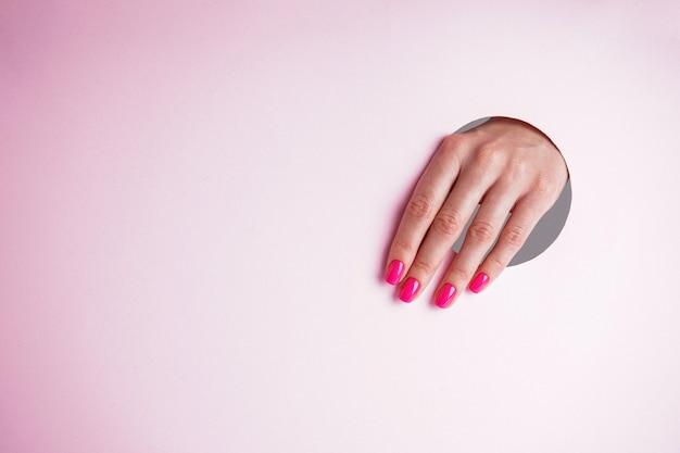 テキスト用のスペースのある美しいマニキュア。ピンクの背景に美しい女性の手。
