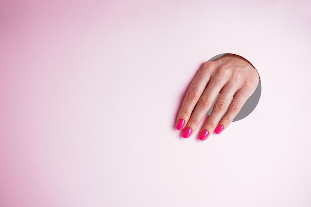 Beautiful manicure with space for text. beautiful woman hand on a pink background.
