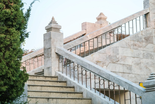 Beautiful marble stone stairs of building