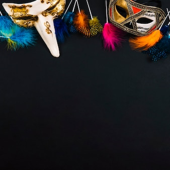Beautiful masks and bright feathers