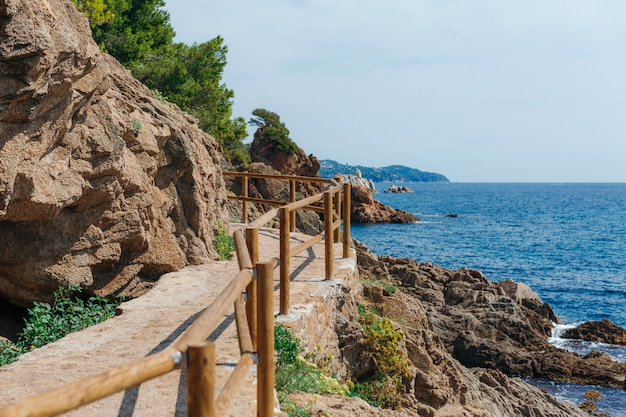 Beautiful mediterranean sea coast with turquoise water near blanes, costa brava, catalonia, spain. summer landscape