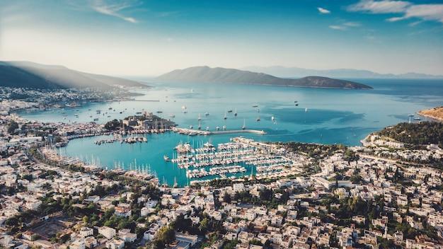Beautiful mediterranean seascape beautiful european town in greece style on summer sea coast