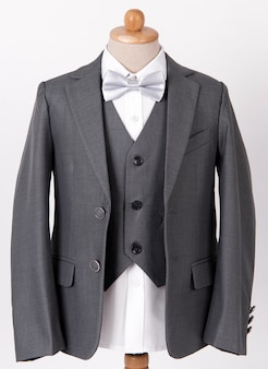 Beautiful men's grey jacket suit with shirt and bow tie on white background
