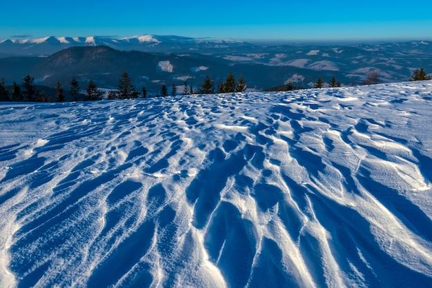 晴れた凍るような冬の日に針葉樹林と山脈を見下ろすスキー雪の波の美しい魅惑的な景色。スキー休暇のコンセプト。広告スペース