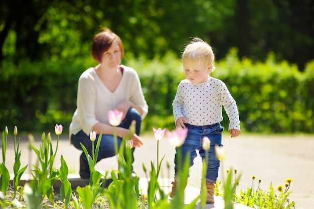 Beautiful middle aged woman and her adorable little grandson walking in sunny park