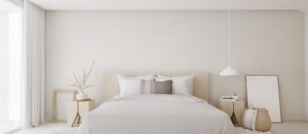 Красивый минималистичный интерьер белой спальни