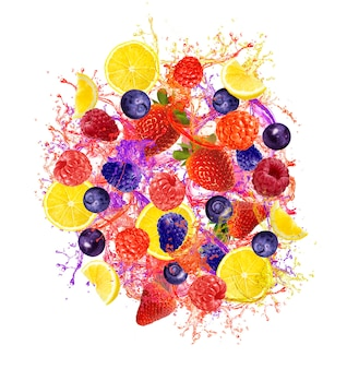 Beautiful mixed fruits splashing isolated