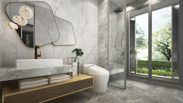 The beautiful mock up modern house mock up and interior design of bathroom and marble wall background and garden view