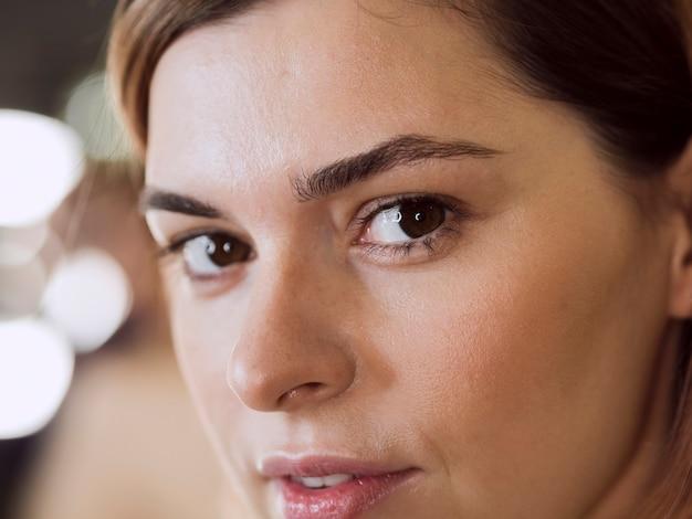 Beautiful model close up with bokeh