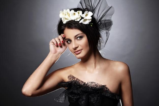 빈티지 신부 이미지의 아름다운 모델