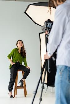Beautiful model posing indoors