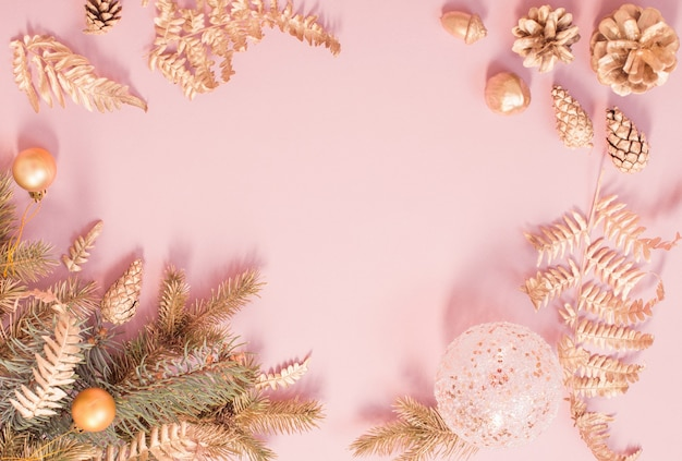 Beautiful modern christmas background in gold and pink colors