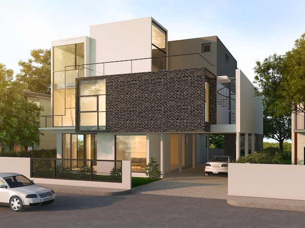 Beautiful modern design black brick house near park and nature
