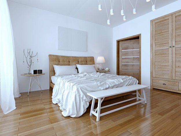 Beautiful and modern home and hotel bedroom with contrast of the two colors white and brown.
