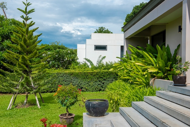 Beautiful modern house in nature environment